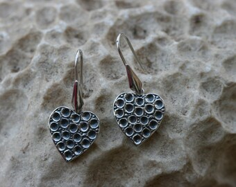 Silver Earrings, Romantic Style, Silver Heart, Silver Jewelry, Heart Earrings, Handmade 925 Silver Earrings, Free Shipping,