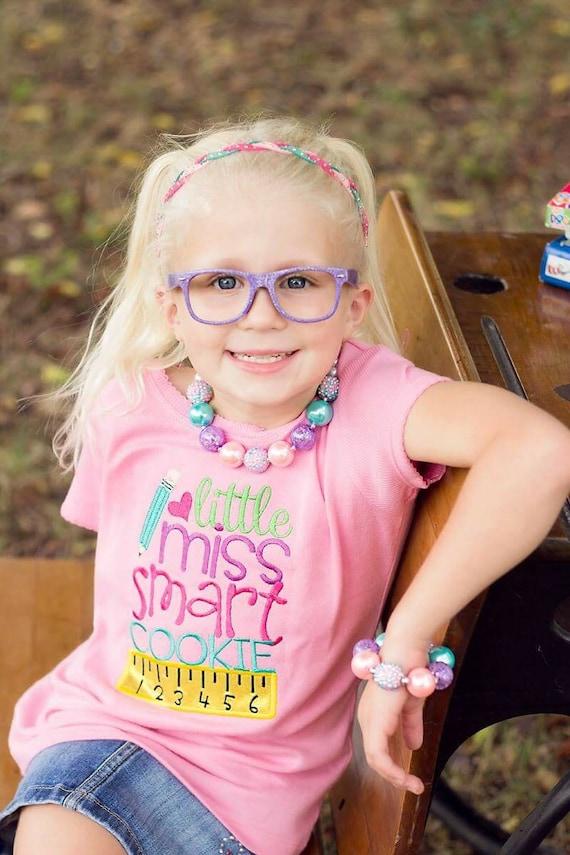 Little Miss Smart Cookie Embroidered Shirt -Back to School Shirt-First Day of School Shirt-Kindergarten 1st Grade 2nd Grade-Graduation Shirt