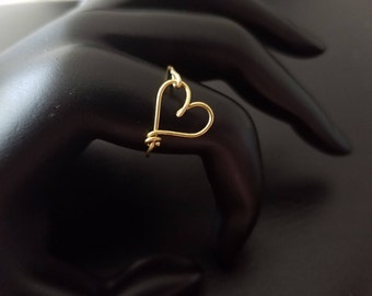 Dainty heart ring Gold Rose Gold or Silver Tie the knot ring bridesmaid wedding baby shower tarnish resistant wire minimalist