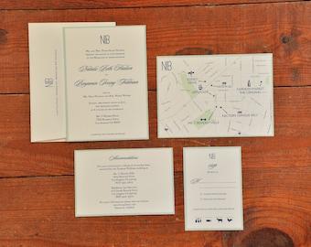 "Script Wedding Invitation ""The Natalie""-- (20 Invites, RSVP Cards, Envelopes)"