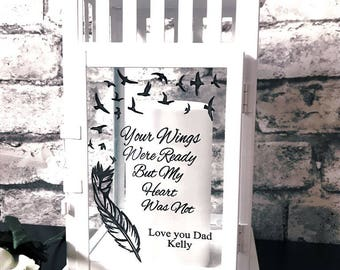 Personalised candle your wings were ready but my heart was not lantern memorial lantern Father's Day dad memorial gift remembrance gift