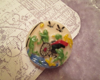 Czech glass button vintage Wind In The Willows Mr. Toad frogs