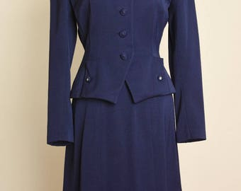 Vintage 40's Suit, 1940's Navy Suit, Navy Wool Gabardine Suit, Nipped Waist Suit, Navy Skirt, Jacket, Small