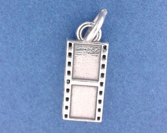 MOVIE FILM Strip Charm .925 Sterling Silver Film Reel, Hollywood Actor, Director Pendant - f1122