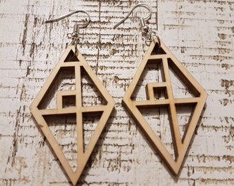 Wooden Diamond Mondrianesque earrings