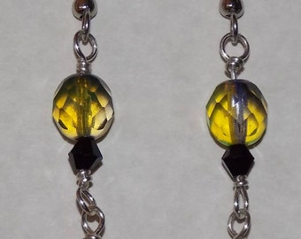 Amber and Yellow Sterling Silver Dangle Earrings Hand wrapped One of a Kind Artisan Jewelry