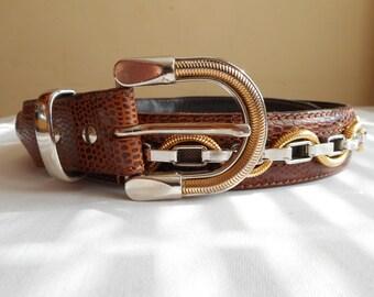 NANNI Belt, Genuine Leather Belt,Made in Italy, Metal Chain Belt, Chain and Leather Belt, Brown Leather Belt