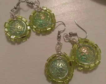 Green lime silver wire wrapped earrings. Birthday, Special One. One Pair included.