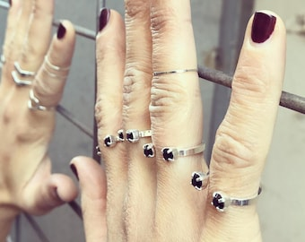 Adjustable Ring, Black Crystal Ring, Black Stone Ring, Open Ring, Stackable Ring, Punk Ring, Silver Rings For Women, Black Rings For Her