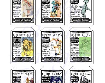 Fantasy Potion Labels -- Wizard of Oz, GIFT TAGS (2 x 3 inches)