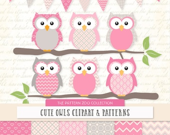 Patterned Pink Owls Clipart and Digital Papers - Pink Owl Clipart, Owl Vectors, Baby Owls, Cute Owls