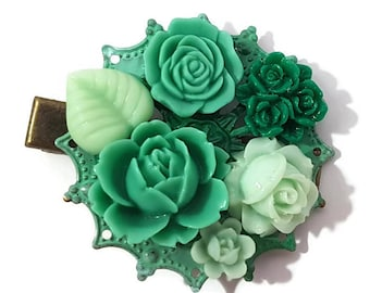 Green Hair Clip-Floral-Hair Accessory-Green Flower Clips-Green Hair Comb-Green Bobby Pins-Green Hair Slides-Green Rose Clip-Mint Hair Clip