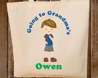 Going to Grandma's Tote Bag Boys Tote Bag  - Any wording and Hair color