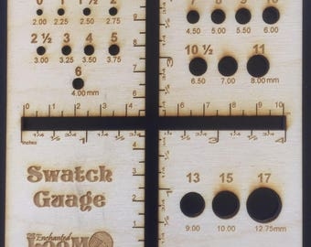 Wooden Swatch Gauge with needle gauge