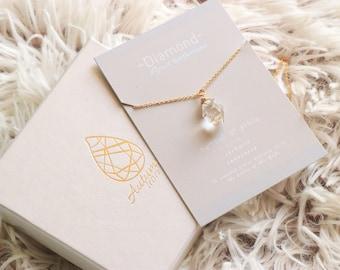 Diamond April Birthstone Necklace - Birthstone Necklace, Birthday Gift, Crystal Necklace, April Necklace, Diamond Necklace