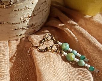 Shell, Jasper, and Agate Drop Earrings in Aquamarine