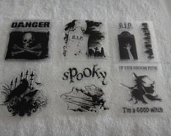 """Free Shipping!  Spooky Halloween Acrylic Stamps - 6 Stamps - Appear New - 2.5"""" x 2.5"""" - Card Making - Stamping - Scrapbook - CC2 - ML17"""