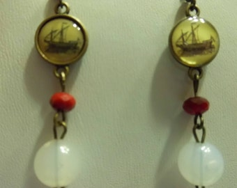 Ship Necklace Earring Set
