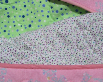 Baby Quilt Pink Floral with Flannel Backing