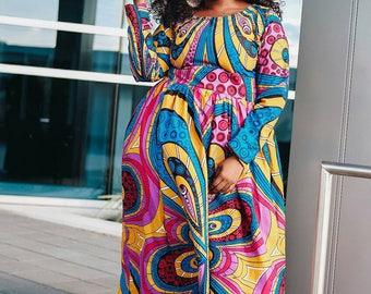 Afrcan women clothing full length long sleeve maxi Dress with side pockets Ankara print African dress African fashion