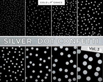 Silver Dots Digital Paper, Silver Scrapbook Paper Pack, Silver Metallic, Instant Download Silver Paper, Silver Confetti, Silver Backgrounds