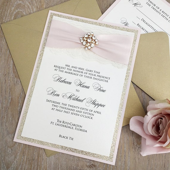 REBECCA - Blush Pink and Gold Glitter Wedding Invitation - Ivory Lace Wedding Invitation with Gold Rhinestone Brooch and Blush Pink Ribbon