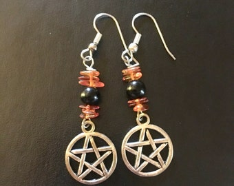 Amber and Jet Pentacle Earrings