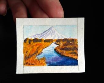 Tiny original watercolor painting, volcano kronotsky, original miniature painting, landscape aquarelle, mini art cute mountain river gift