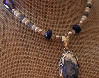 Sodalite and Sterling Silver Pendant Necklace