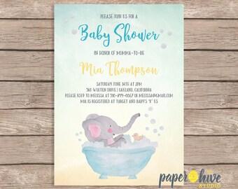 elephant baby shower invitations / printed baby shower invites / gender neutral baby shower / printable invitations / printed invites