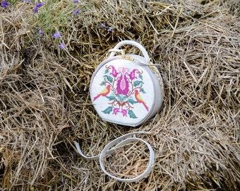 Pink Chime Bag               beadwork, embroidery bag, handbag, handmade, ukraine embroidery, leather bag ukraine bag, cross stitch bag