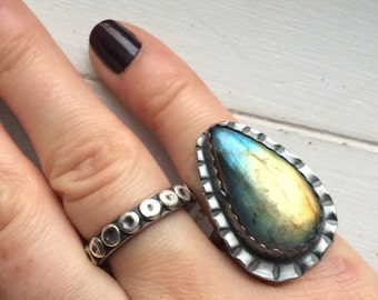 Labradorite Statement Ring - Inspirational Stamped Rustic Sterling Silver Artisan Metalwork - Boho Jewelry Gifts for Her