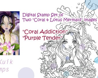 Digital Stamp Coral & Lotus Mermaid Set of 2 Images - Instant Download / Ocean Fantasy Fairy Girl by Ching-Chou Kuik