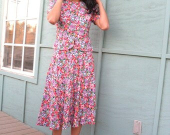 RESERVED-Please Don't Buy-vintage 1980s MAGGY LONDON vibrant roses dress