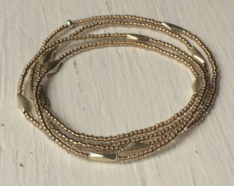 Beaded Multi wrap bracelet, long seed bead necklace, metallic seed beads and bali silver, layering jewelry