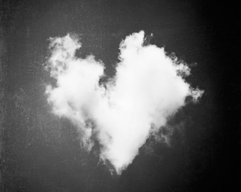 "Black and White Photography - heart love cloud nursery print sky dark wall monochromatic modern fine photo - 8x8 Photograph, ""All My Love"""