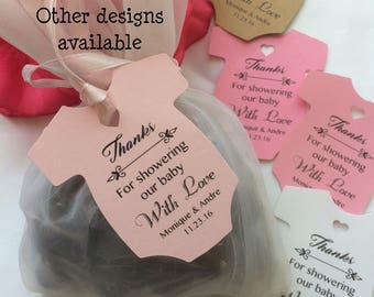 baby shower favor tags onesie Custom Personalised kraft pearlescent shimmer favor tags, thank you tags baby shower tags baby shower gift tag