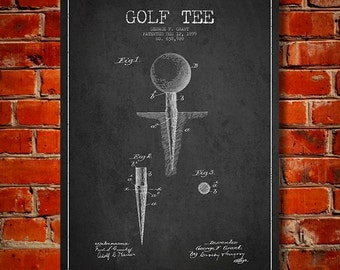 1899 Golf Tee Patent, Canvas Print,  Wall Art, Home Decor, Gift Idea