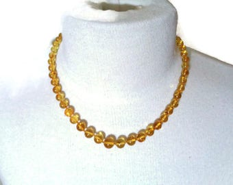 100% NATURAL Real BALTIC AMBER Stone Round Beads Necklace Sunny Lemon For Adults 14.2 grams Handmade