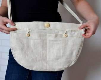 Natural linen tote, Shoulder bag, Messenger bag, Purse, Everyday bag , Eco friendly bag, Cross body bag, Natural totes