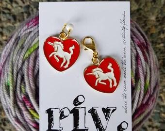 Knitting Stitch Marker | Knitting Progress Marker | Crochet Removable Stitch Marker | Zipper Pull | Unicorn Heart