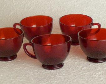 5 Vintage red cups