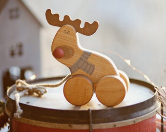 Christmas Wooden Toy, Reindeer Toy, Old Fashioned Toys for Toddlers