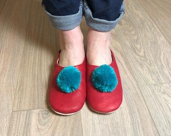 Handmade Red leather Pom Pom Slippers