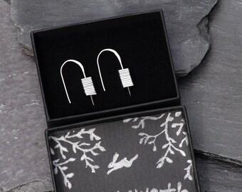 Hematite Cairn Silver Earrings - Unique Earrings - Unusual Earrings - Birthday Gifts for Women - Gift for Wife - Modern Minimalist Jewelry
