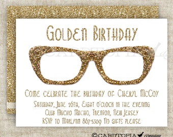 HIPSTER BIRTHDAY PARTY Invitations for Adult Woman or Girl Printable Custom Cards Party Invitations - 175427892