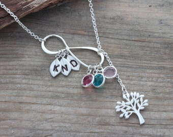 Infinity Necklace with Initial and Birthstones, Choose initial charms. Family Tree. Infinity Birthstones, Grandmother Mothers. By MONYART