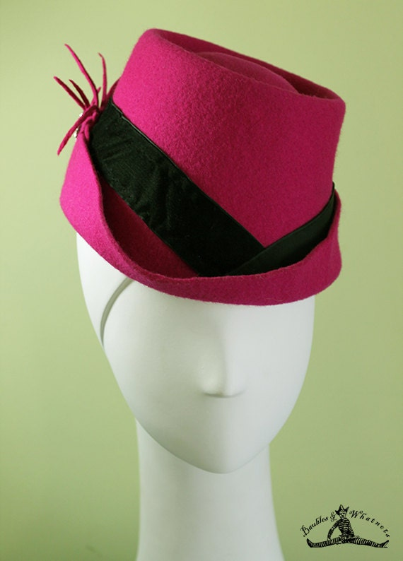 Hot Pink Fedora - Women's Hot Pink Wool Fedora Hat - Unique Bright Pink Women's Fedora - 1940s Women's Pink Fedora - OOAK