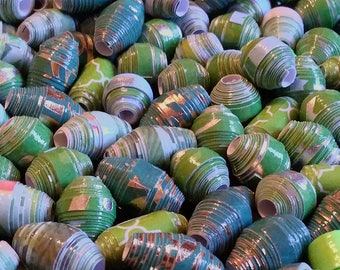 Hand Rolled Chunky Paper Beads. Green Shades mixed lot. Barrel/Bicone Style's 12 pcs. + 2 bonus beads e-002