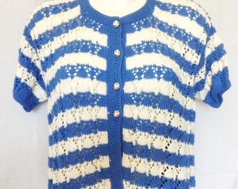 Cardigan / vest / jacket, handmade, blue and white T FR 42 / 44, USA 32 / 34, UK 14 / 16.
